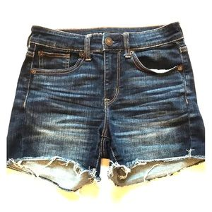 American Eagle Hi-Rise Shorties Frayed Jean Shorts
